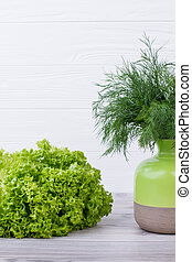 Beautiful composition with green herbs.