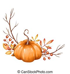 Beautiful composition with pumpkin and fall branches