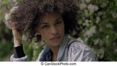 Beautiful confident black woman looking at camera - Sensual...
