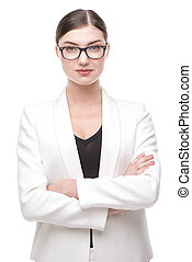 Beautiful contemporary business woman with glasses looking serio