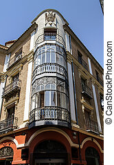 Beautiful corner house in Portugal. Sunny summer day.