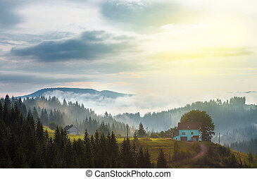 cottage in the mountains forest