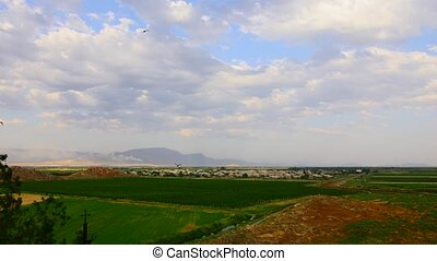 Beautiful Countryside Fields with Small Village