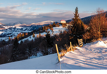 beautiful countryside in Carpathian mountains - Synevyr,...