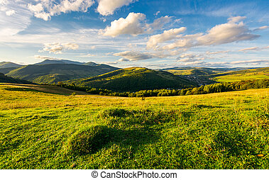 beautiful countryside in the evening. fluffy clouds over the...