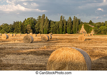 Beautiful Countryside Landscape: Golden  Hay Bales in Harvested