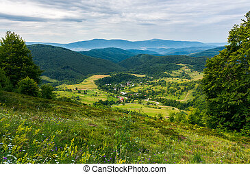 beautiful countryside landscape in mountains. forested hills...