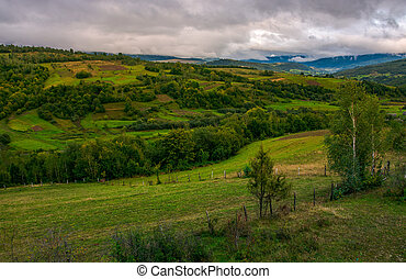 beautiful countryside on an overcast day. rural area of...