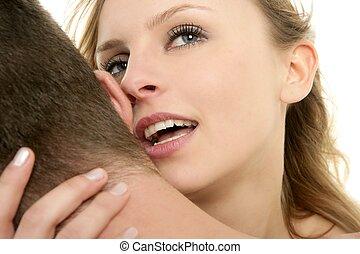 beautiful couple, blond woman hug a man
