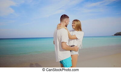 Beautiful couple during summer holidays - Beautiful happy...