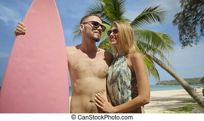 Beautiful couple during summer holidays - Young happy couple...