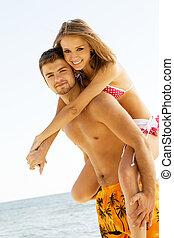 Beautiful couple having fun on the