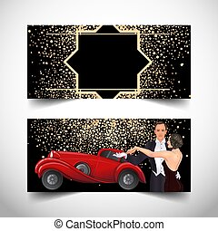 Beautiful couple in art deco style dancing tango. Retro fashion, glamour man and woman of twenties and red car. Vector illustration. Roaring Twenties. Classic automobile,