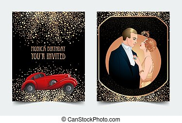 Beautiful couple in art deco style dancing tango. Retro fashion glamour man and woman of twenties and red car. Vector illustration. Roaring Twenties. Classic automobile,