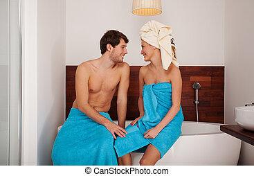 Beautiful couple in bath