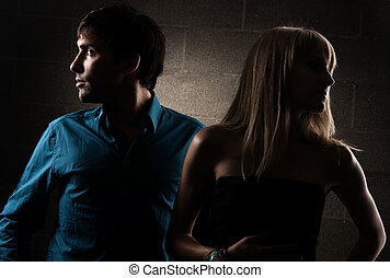 Beautiful couple in conflict