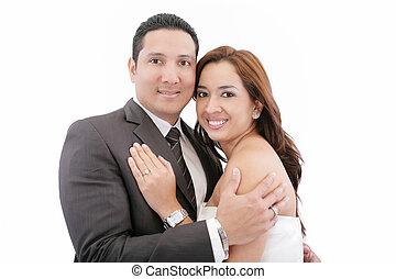 Beautiful couple isolated on white background