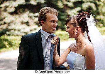 Beautiful couple newlywed