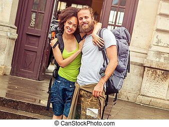 Beautiful couple of tourists in love