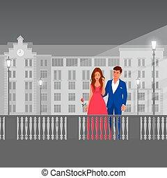 Beautiful couple on a city street