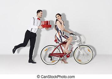 Beautiful couple on the white background