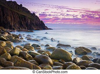 Beautiful Cove At Dusk - Beautiful dusk at the remote Porth...