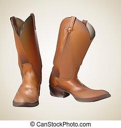 beautiful cowboy boots. Vector illustration. 10 eps