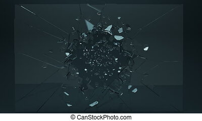Beautiful cracked and broken glass with slow motion. ...