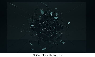 Beautiful cracked and broken glass with slow motion.