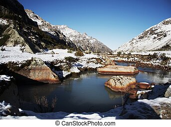 Beautiful creek in the Cordillera mountain - Stone in the...