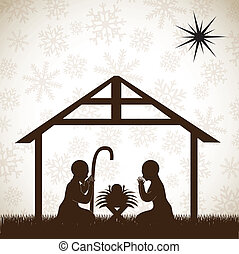 beautiful crib brown, Christmas image over white background