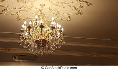 beautiful crystal chandelier in ball room