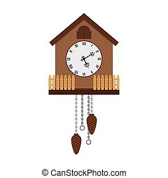 Beautiful cuckoo-clock isolated on white background, vector...