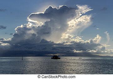 Beautiful cumulus clouds over Pacific ocean