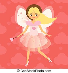 Beautiful Cupid girl with wings in pink. Flying fairy in pink dress. Valentines day, romantic character. Vector illustration