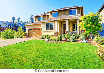 Beautiful curb appeal of luxury beige house. - Beautiful...