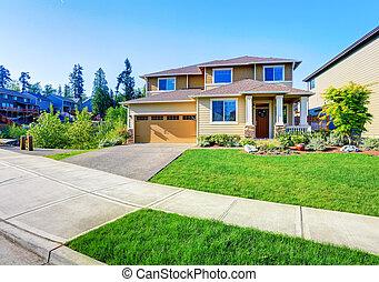 Beautiful curb appeal of luxury beige house. - Beautiful...