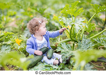 Beautiful curly baby girl sitting in a farm field next to a...