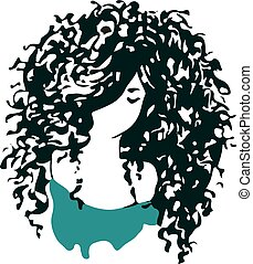 Beautiful curly hair girl logo.