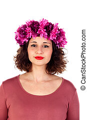 Beautiful curvy girl with a flowered headdress