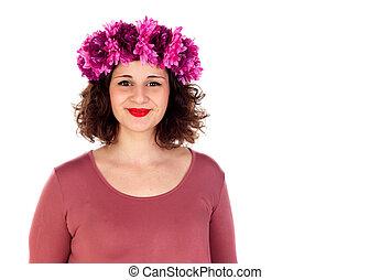 Beautiful curvy girl with a flowered headdress