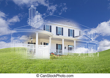 Beautiful Custom House Drawing and Ghosted House Above Grass