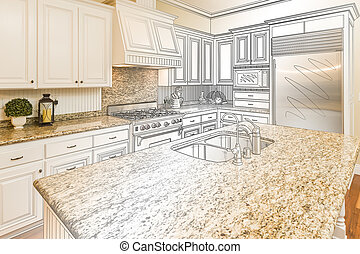 Custom Kitchen Design Drawing and Gradated Photo Combination