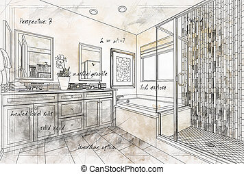 Beautiful Custom Master Bathroom Design Drawing Details