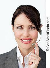 Beautiful customer service agent using headset