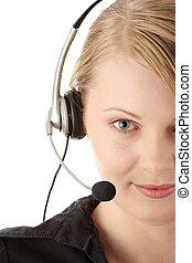 Beautiful customer service operator