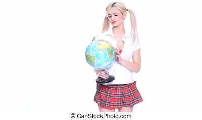 Beautiful cute blond woman holding