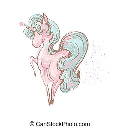 Beautiful cute girl unicorn with long lashes vector hand drawn illustration on white backgtound