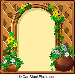 Beautiful cute greeting card with frame and space for your text, picture or photo, in the form of a woven wooden frame decorated with fresh flowers. Vector cartoon close-up illustration.