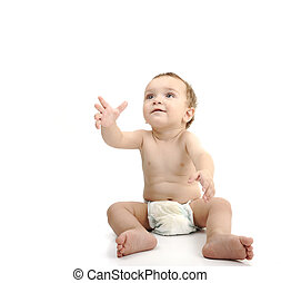 Beautiful cute happy baby isolated on white background....
